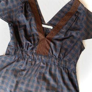 SESSUN Short-Sleeve Checked Blouse